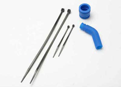 Traxxas Pipe coupler, molded (blue)/ exhaust deflecter (rubber,