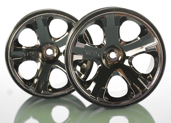 Traxxas 12mm Hex Wheels, All-Star 2.8' (black chrome) (nitro rear/ electric front) (2)