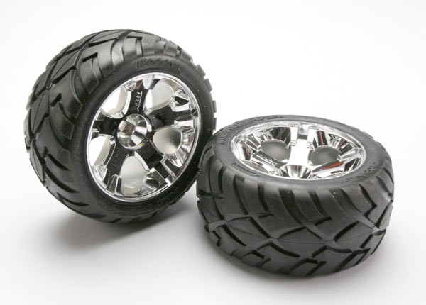 Traxxas Tires & wheels, assembled, glued (All-Star chrome wheels, Anaconda tires, foam inserts) (nitro rear/ electric front) (1 left, 1 right)
