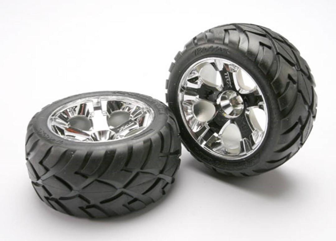 Traxxas Anaconda Tires w/All-Star Front Wheels (2) (Jato) (Chrome) (Standard)