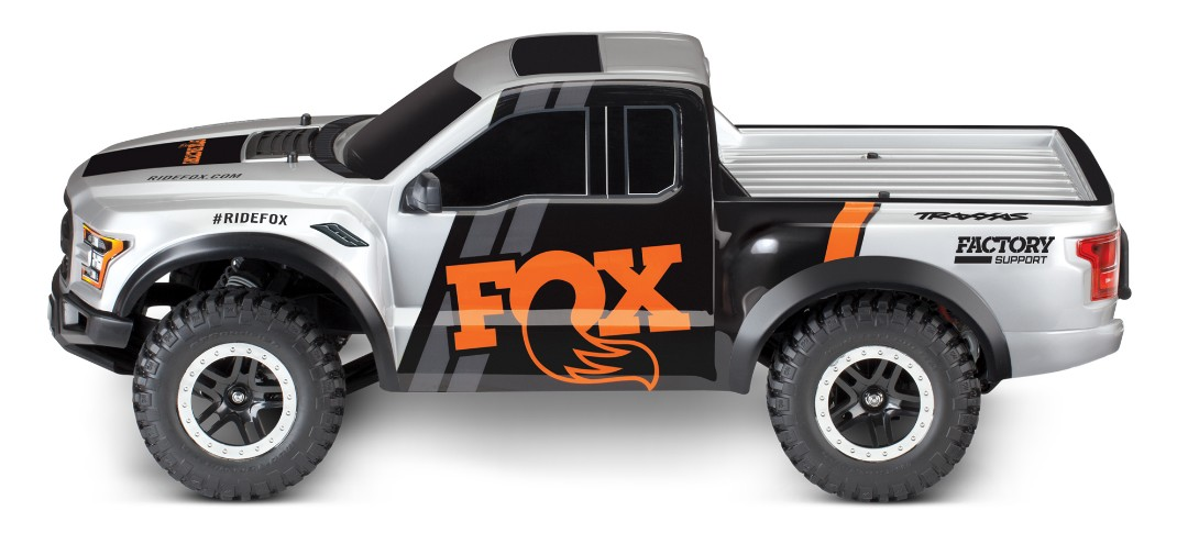 Traxxas Fox 2017 Ford Raptor RTR 1/10 2WD Truck with TQ 2.4GHz radio system and XL-5 ESC (fwd/rev). Includes: 7-Cell NiMH 3000mAh Traxxas battery