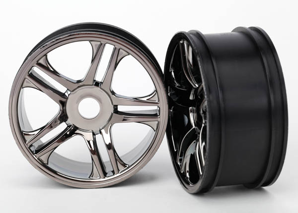 Traxxas Wheels, Split-Spoke (Black Chrome) (Front) (2)