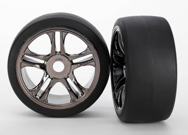 Traxxas Front Tire & Wheel Set (2) (Black Chrome) (S1) XO-1