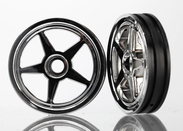 Traxxas Front 5-Spoke Wheel Set (Chrome) (2)
