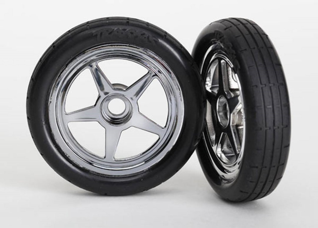 Traxxas Pre-Mounted Front Tire Set (Chrome) (2)