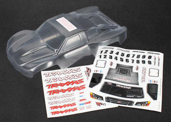 Traxxas Body, 1/16th Slash (Clear, Requires Painting)/Grill, Lights Decal Sheet