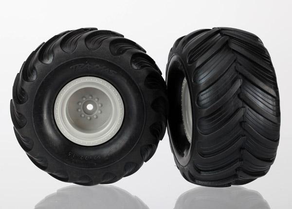 Traxxas 1/16 Monster Jam Replica Pre-Mounted Tire & Wheel Set (2) (Gray)