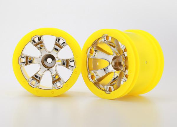 Traxxas Wheels, Geode 2.2' (chrome, yellow beadlock style) (12mm hex) (2)
