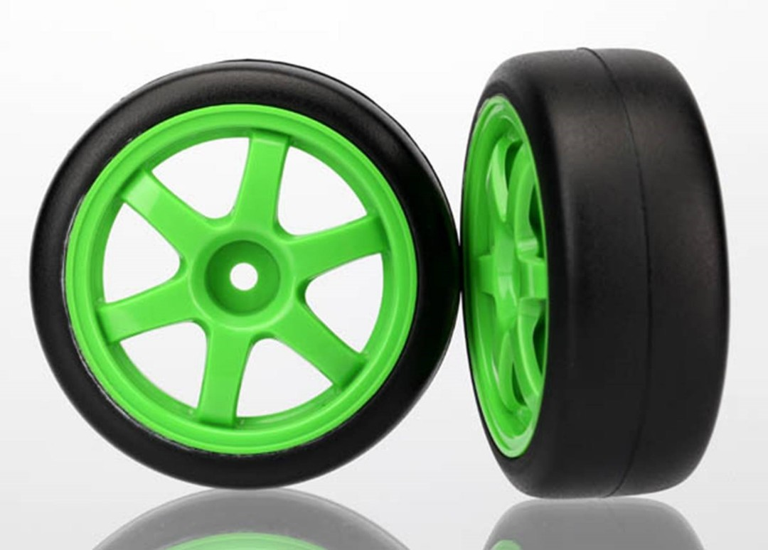 Traxxas Tires and wheels, assembled, glued (Volk Racing TE37 green wheels, 1.9 Gymkhana slick tires) (2)