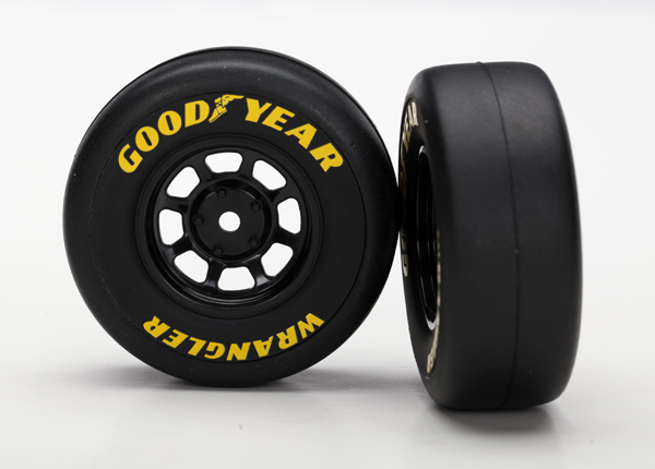 Traxxas Tires and wheels, assembled, glued (8-spoke wheels, black, 1.9 Goodyear Wrangler tires) (2) for 1/16th vehicles