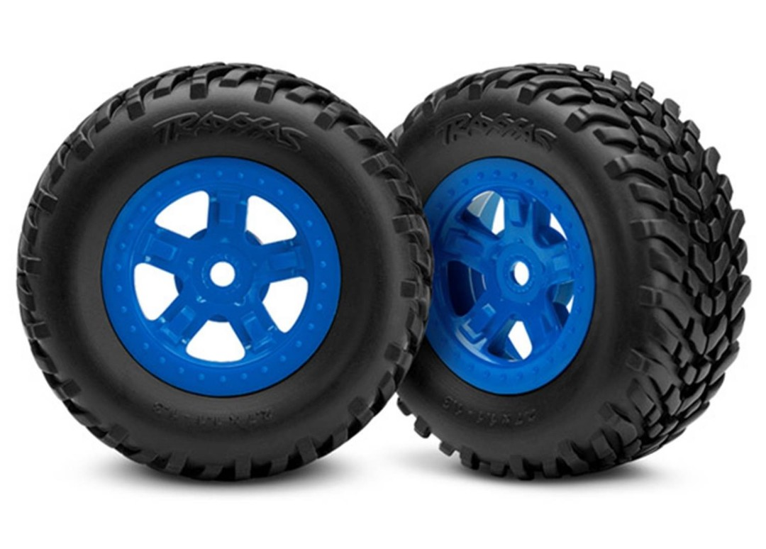 Traxxas Tires and wheels, assembled, glued (SCT blue wheels, SCT off-road racing tires) (1 each, right & left)
