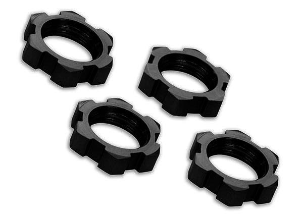 Traxxas Wheel nuts, splined, 17mm, serrated (black-anodized) (4)