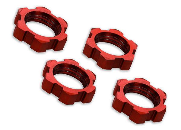 Traxxas Wheel Nuts, Splined, 17mm, Serrated (red-anodized) (4)