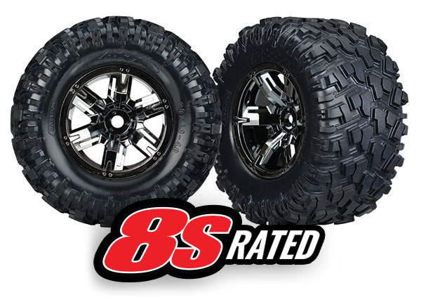 Traxxas Traxxas Tires & wheels, assembled, glued (X-Maxx black chrome wheels, Maxx AT tires, foam inserts) (left & right) (2)