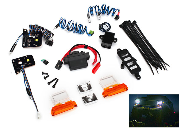 Traxxas Bronco LED light set, complete with power supply (contains headlights, tail lights, side marker lights, distribution block, and power supply) (fits TRA8010 body)