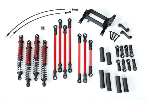 Traxxas Long Arm Lift Kit, TRX-4, complete (includes red powder coated links, red-anodized shocks)