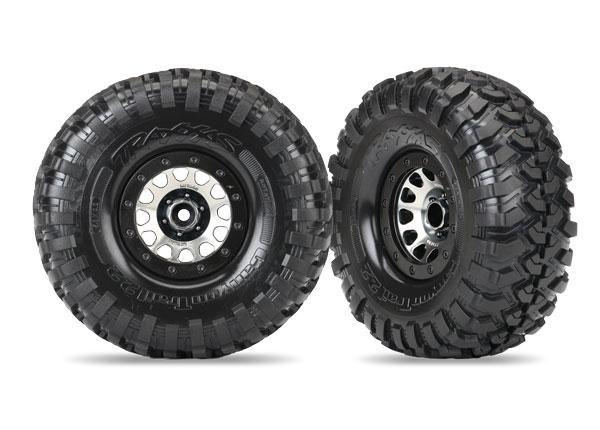 Traxxas Tires and wheels, assembled (Method 105 black chrome beadlock wheels, Canyon Trail 2.2