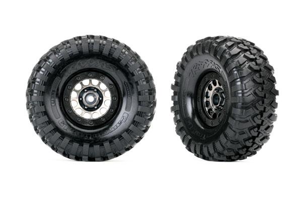Traxxas Tires and wheels, assembled (Method 105 black chrome beadlock wheels, Canyon Trail 1.9