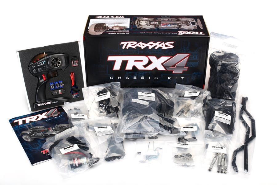 Traxxas TRX-4 Scale and Trail Crawler Chassis Kit: 1/10 Scale 4X4 Trail Truck, Unassembled Kit, Waterproof electronics, with TQi 2.4GHz 4-channel Radio System, XL-5 HV Speed Control, Hi/Low Transmission, and Remote Locking Differentials. Requires: Body, Battery, and Charger.