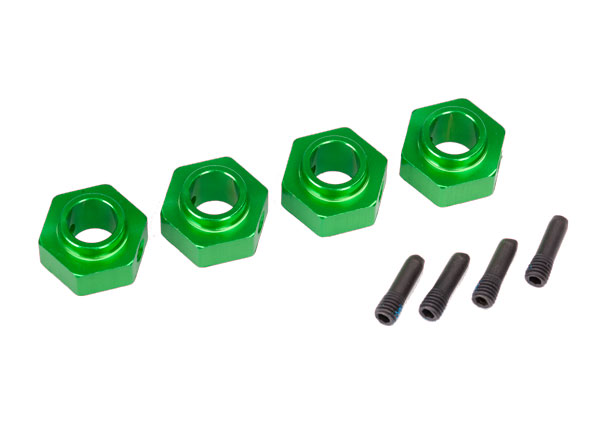 Traxxas Wheel hubs, 12mm hex, 6061-T6 aluminum (green-anodized) (4)/ screw pin (4)