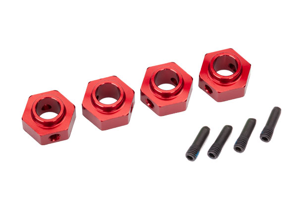 Traxxas Traxxas Wheel hubs, 12mm hex, 6061-T6 aluminum (red-anodized) (4)/ screw pin (4)