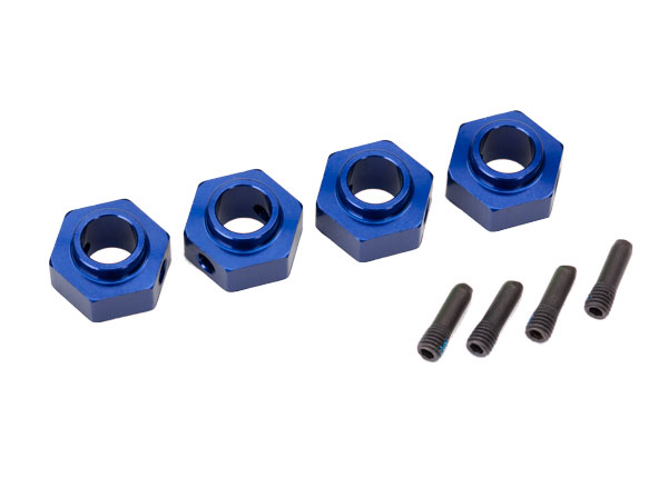Traxxas Traxxas Wheel hubs, 12mm hex, 6061-T6 aluminum (blue-anodized) (4)/ screw pin (4)