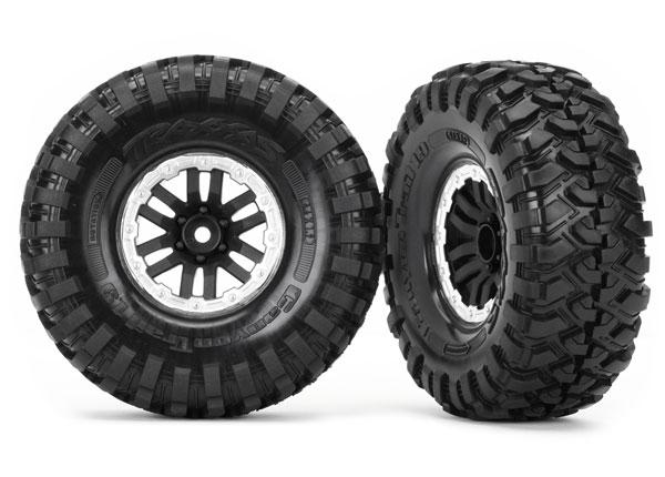 Traxxas Tires and wheels, assembled, glued (TRX-4 satin beadlock wheels, Canyon Trail 1.9