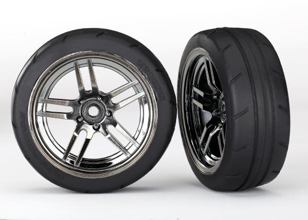 Traxxas Tires and wheels, assembled, glued (split-spoke black chrome wheels, 1.9