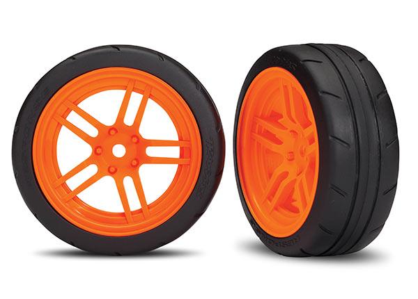 Traxxas Tires And Wheels, Assembled, Glued (Split-Spoke Orange Wheels, 1.9
