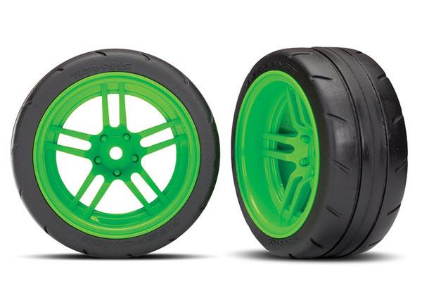 Traxxas Tires And Wheels, Assembled, Glued (Split-Spoke Green Wheels, 1.9