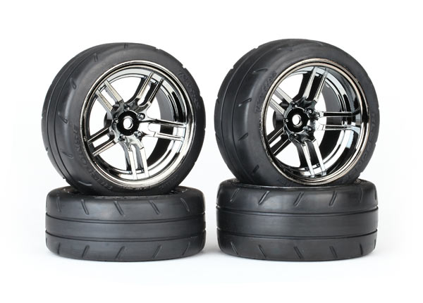 Traxxas Tires and wheels, assembled, glued (split-spoke black chrome wheels, 1.9' Response tires, foam inserts) (front (2),rear (extra wide) (2)) (VXL rated) (4 wheels & tires total)