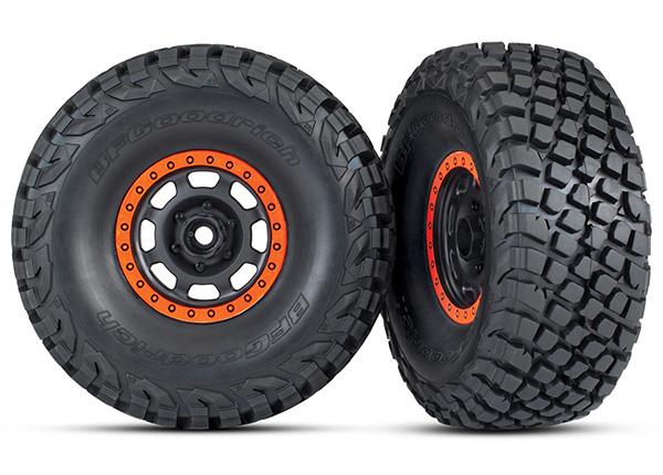 Traxxas Tires and wheels, assembled, glued (Desert Racer wheels, black with orange beadlock, BFGoodrich Baja KR3 tires) (2)