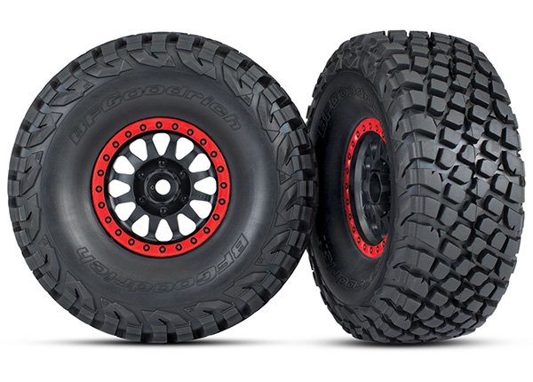 Traxxas Tires and wheels, assembled, glued (Method Racing wheels, black with red beadlock, BFGoodrich Baja KR3 tires) (2)