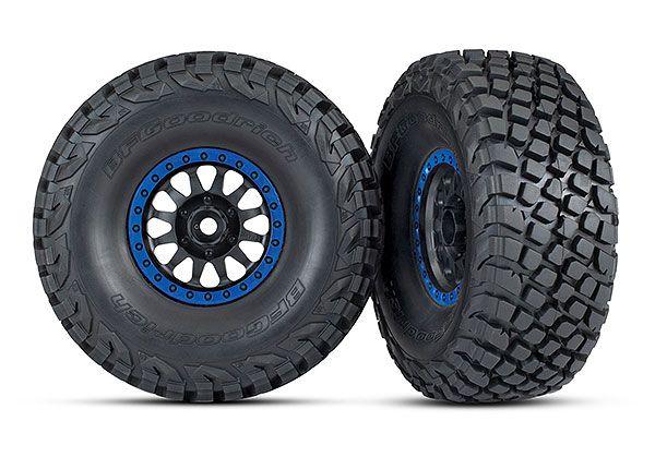 Traxxas Tires and wheels, assembled, glued (Method Racing wheels, black with blue beadlock, BFGoodrich Baja KR3 tires) (2)