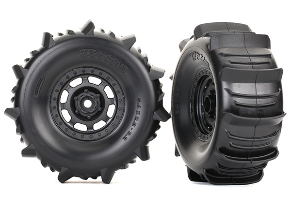 Traxxas Tires and wheels, assembled, glued (Desert Racer wheels, paddle tires, foam inserts) (2)
