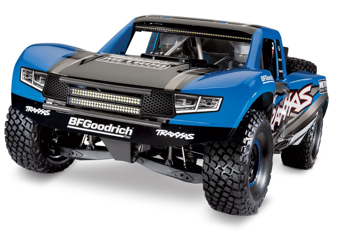Traxxas Unlimited Desert Racer: Pro-Scale 4WD race truck. Ready-To-Race with Traxxas Stability Management, TQi 2.4GHz radio system, VXL-6s brushless power system, factory-installed LED Lighting, and licensed race replica painted body. - Blue
