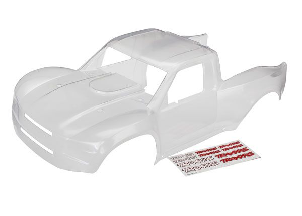 Traxxas Body, Unlimited Desert Racer (clear, trimmed, requires painting)/ decal sheet