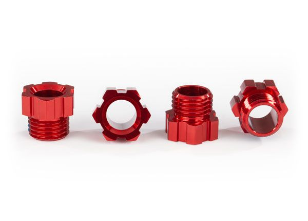Traxxas Stub axle nut, aluminum (red-anodized) (4)