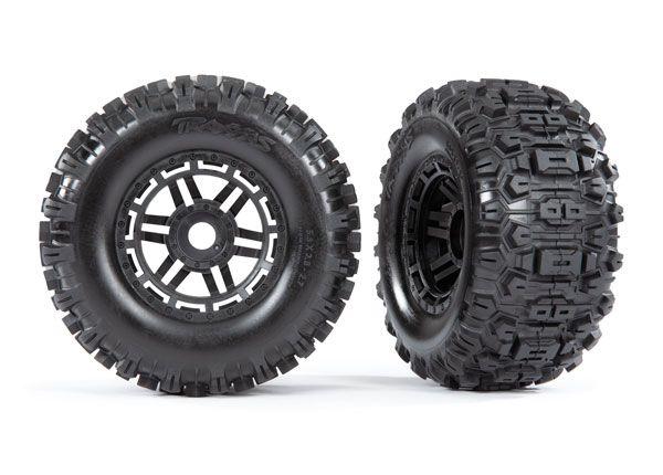 Traxxas Sledgehammer Tires & wheels, assembled, glued (black wheels, dual profile (2.8