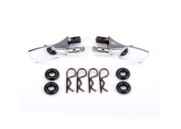 Traxxas Mirrors, side, chrome (left & right)/ o-rings (4)/ body