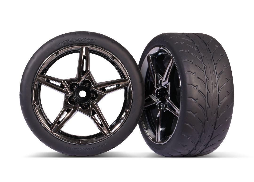 Traxxas Tires and wheels, assembled, glued (split-spoke black chrome wheels,1.9