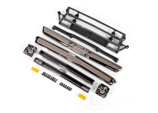 Traxxas Body accessories, Chevrolet C10, black chrome (includes grille (upper & lower),headlight housings (left & right),bumpers (front & rear),mounting retainers and hardware)