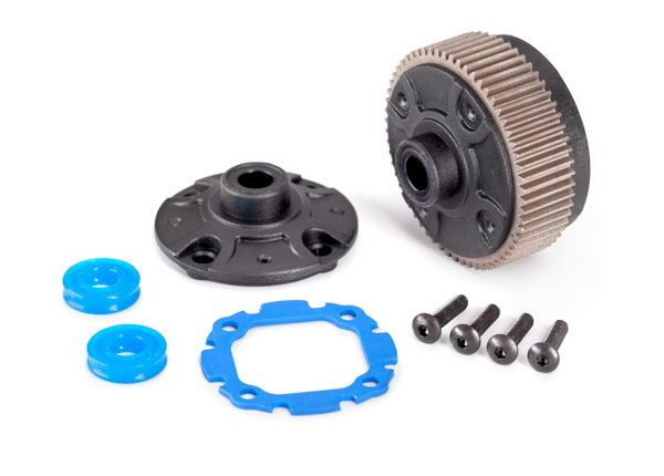 Traxxas Differential with steel ring gear/ side cover plate/ gasket/ x-rings (2)/ 2.5x10mm BCS (4)