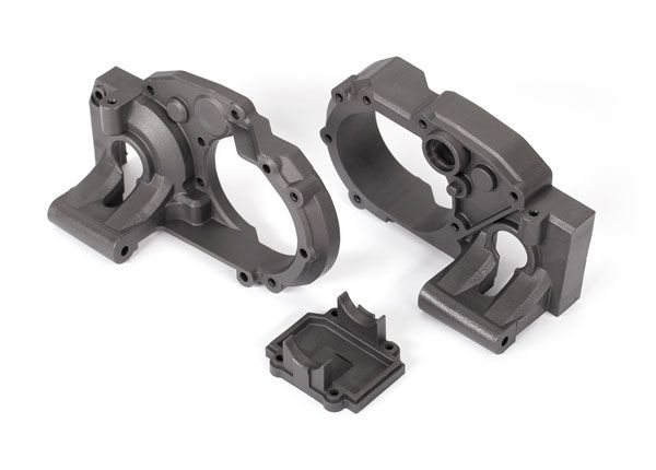 Traxxas Gearbox halves, left & right/ differential cover (charcoal gray)