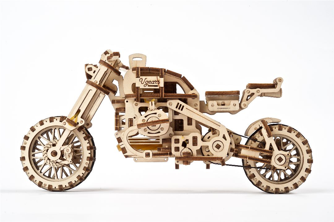 UGears Scrambler UGR-10 with sidecar - 380 pieces - Click Image to Close