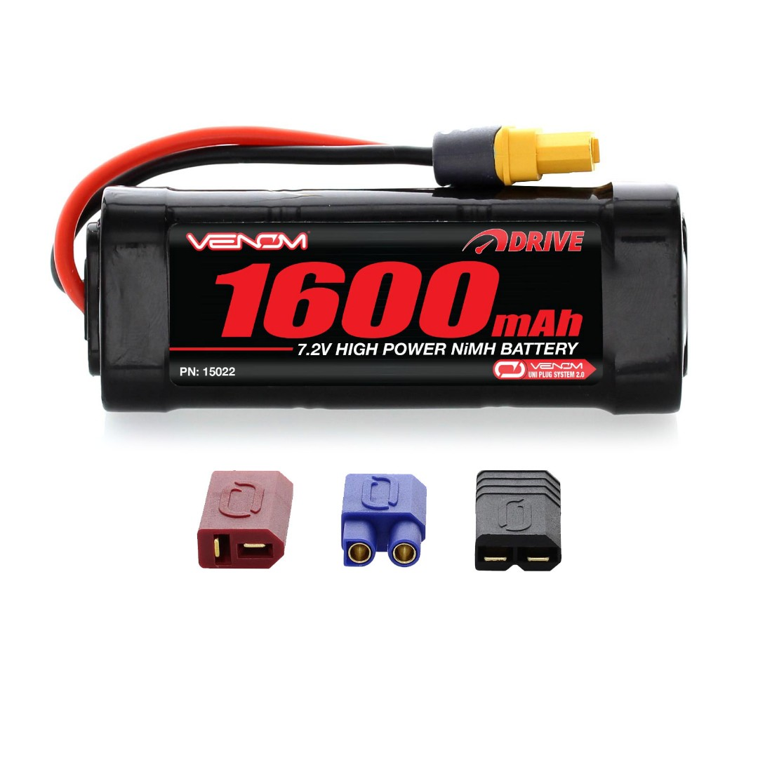 Venom Drive 1600mAh 7.2V 6 Cell NiMH UNI Plug 93x14x34.8 mm