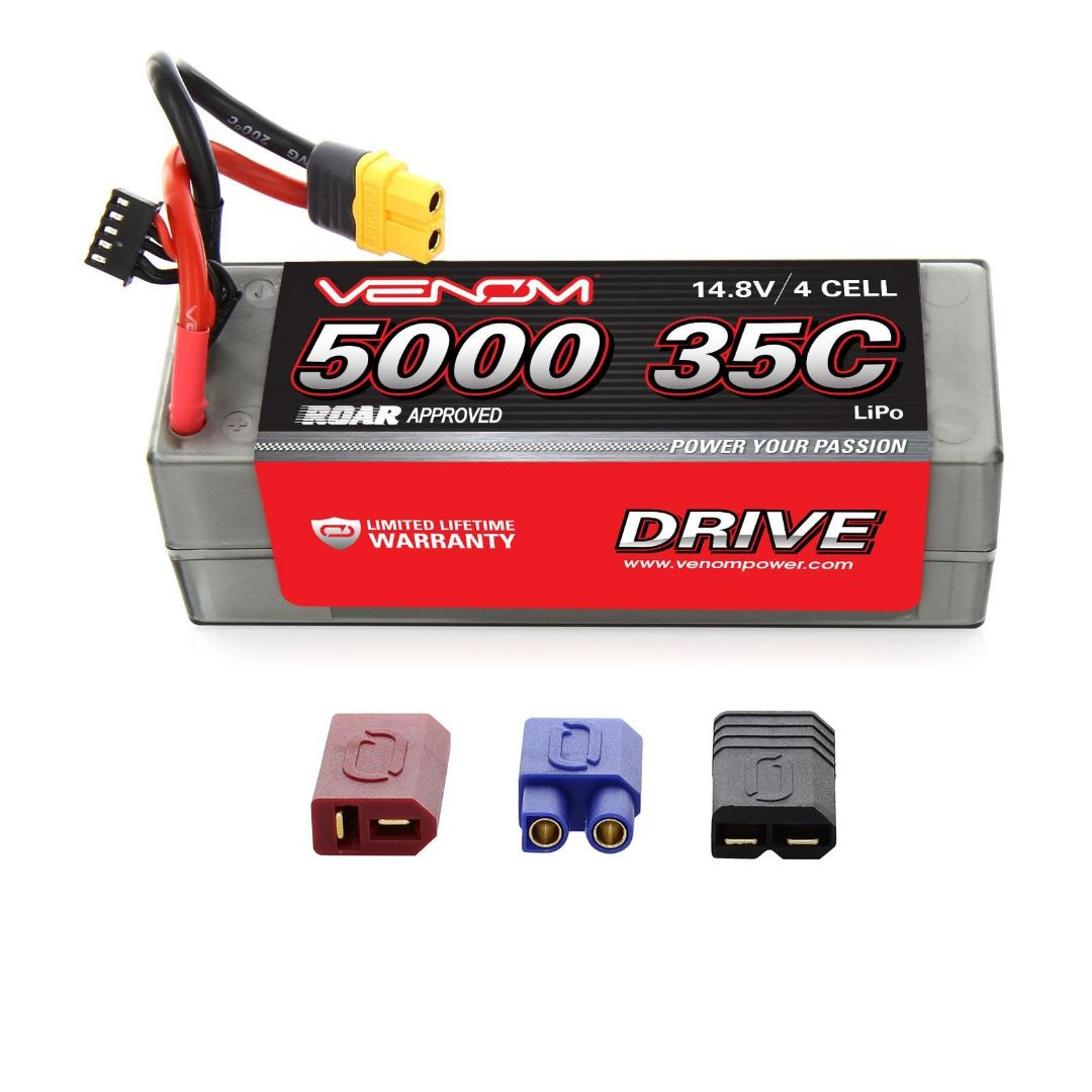 Venom Drive 5000mAh 4S 14.8v 40C LiPo UNI Plug Hard Case ROAR Approved 139x46x49 mm