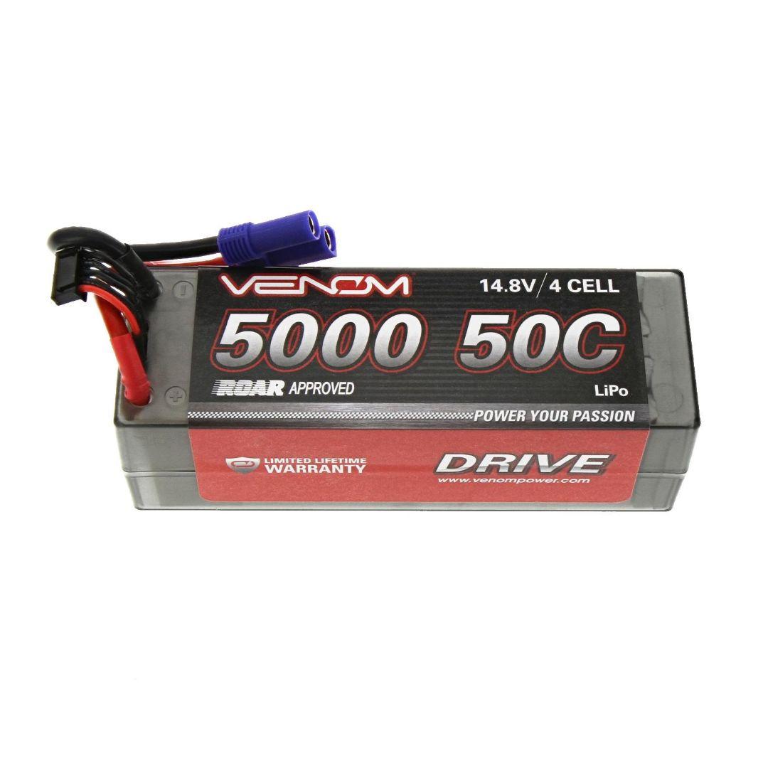 Venom Drive 5000mAh 4S 14.8V 50C LiPo EC5 Plug Hard Case ROAR Approved 139x47x49mm