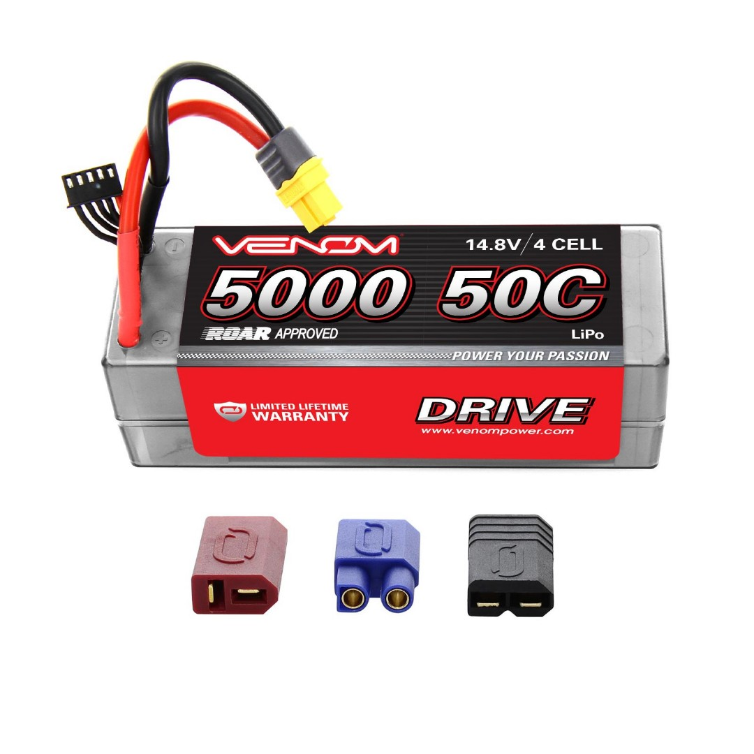 Venom Drive 5000mAh 4S 14.8V 50C LiPo UNI Plug Hard Case ROAR Approved 139x47x49mm