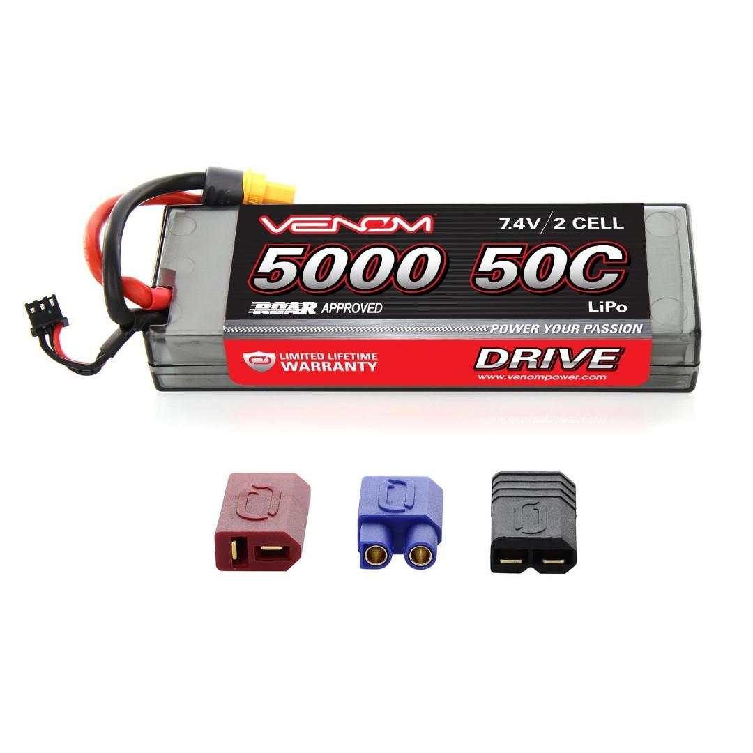 Venom 5000mAh 2S 7.4V 50C LiPo UNI Plug Hard Case138x47x23mm